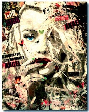 """""""Dakota"""" (spray paint, acrylic pen, resin, collage on canvas, 2013)"""